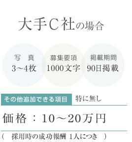 大手C社の場合:写真3~4枚、募集要項1000文字、掲載期間90日で10~20万円