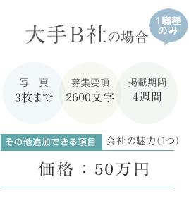 大手B社の場合:写真3枚まで、募集要項2600文字、会社の魅力1点、掲載期間4週間で50万円